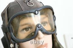 Used vintage pilot leather flight helmet, goggles, throat microphone