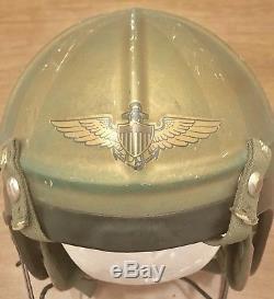 Usn Navy Pilot Flight Helmet Post Wwii Korean War Era Bassons Industries