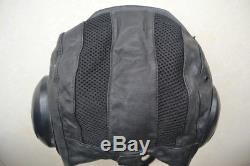 Vintage Air Force Fighter Pilot Flight Helmet, Black Leather Cap