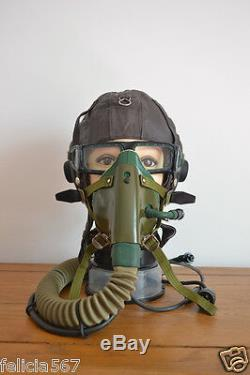 Vintage Air Force MiG-17 Fighter Pilot Flight Helmet, Oxygen Mask, Goggles, Mic