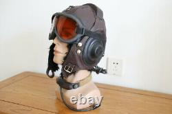 Vintage Air Force Mig-15 Pilot Leather Flight Helmet, throat Microphone