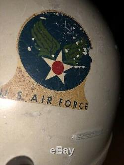 Vintage US Air Force P-4A Pilots Flight Helmet With Oxygen Mask & Headphones