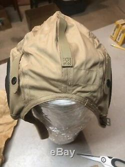 Vintage US Military US NAVY Pilots Cloth Flight Helmet WW2 Slote & Klein size L