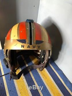 Vintage US Navy Pilots Flight Helmet 1960
