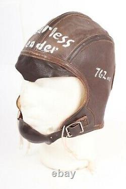 Vintage WWII USN Leather Flight Helmet Pilot Air Crew Skull Cap Mens Size 7 1/4