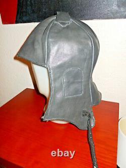 Vintage Wwii German Luftwaffe Pilot Aviator Leather Flight Helmet Cap L-xl