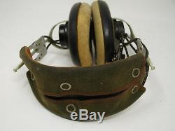 Vtg Aviation WWII Canadian RCAF Leather Flight / Pilot Helmet & Radio Headset