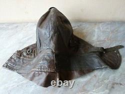 Vtg Rare Ww2 Wwii German Luftwaffe Aviator Pilot Leather Flight Helmet & Gloves