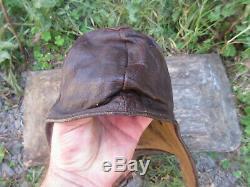 Vtg Rare Ww2 Wwii German Luftwaffe Aviator Pilot Leather Flight Helmet Hat Cap