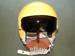 Vtg USAF FIGHTER BOMBER PILOT YELLOW PAINTED GENTEX HGU-26/P FLIGHT HELMET LARGE