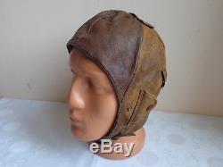 Vtg Wwii German Real Nappa Luftwaffe Pilot Aviator Leather Flight Helmet Cap