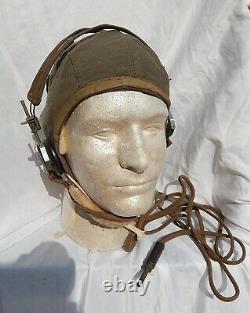WW 2 US AAF Pilot & Crew Type A-9 Wool Flight Helmet With RCA Vintage Headset