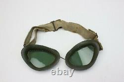 WW2 German Luftwaffe FK-34 Summer Pilots Flight Crew Helmet with goggles