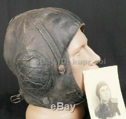 WW2 Summer Leather Flight Pilot Helmet RKKA
