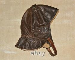 WW2 WWII German Luftwaffe Pilot Aviator Leather Flight Helmet