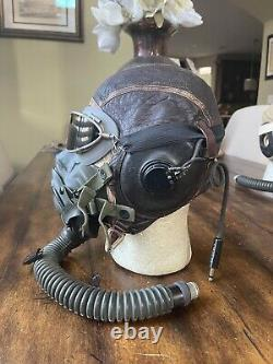 WW2 WWII Pilot Flight Helmet A11, AN6530 Googles, A14 Oxygen mask AAF USAAF #1