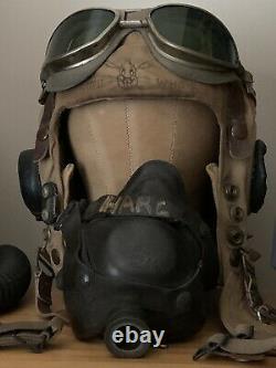 WWII ANB-H-1 Pilot Flight Helmet Headset & Wiring Loom with PL-354 Plug known ID