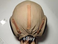WWII US Army Air Force Fighter Pilot Helmet Flying Flight Cap Bates Shoe Co MINT