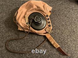 WWII USN / USMC Aviator Pilot Flight Helmet & Receivers / Cord Possible ID