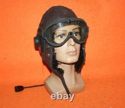 World War II Flight Helmet Fighter Pilot Mesh Leather Helmet Goggles